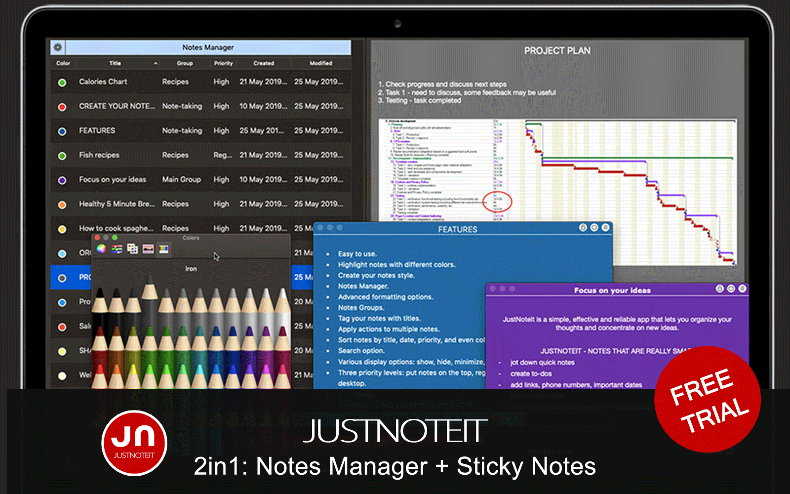 JustNoteIt - Note Manager 2in1